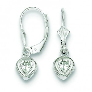 Heart CZ Leverback Earrings in Sterling Silver