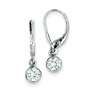 CZ Leverback Earrings in Sterling Silver