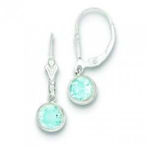Blue Topaz Leverback Earrings in Sterling Silver