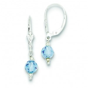 Blue Crystal Leverback Earrings in Sterling Silver