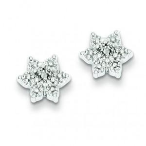 Star W Diamond Earrings in Sterling Silver (0.01 Ct. tw.) (0.01 Ct. tw.)