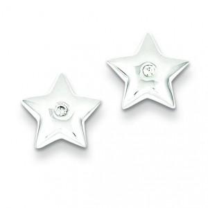 Diamond Star Earrings in Sterling Silver (0.01 Ct. tw.) (0.01 Ct. tw.)