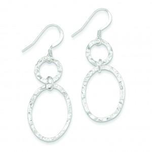 Hammered Dangle Earrings in Sterling Silver