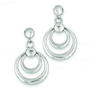 Double Circle Dangle Post Earrings in Sterling Silver
