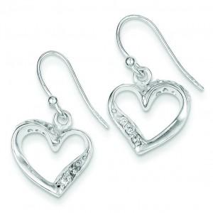 Fancy Heart Earrings in Sterling Silver