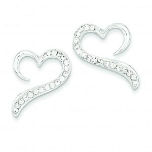 W Swarovski Crystal Heart Earrings in Sterling Silver