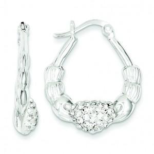 W Swarovski Crystal Scallop Earrings in Sterling Silver