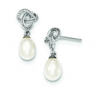 Freshwater Cultured Pearl CZ Post Earrings in Sterling Silver
