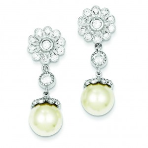 Synthetic Cultured Pearl CZ Post Earrings in Sterling Silver