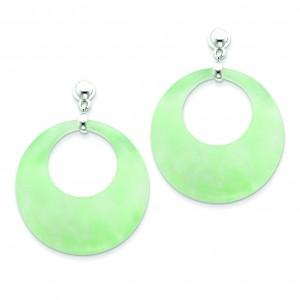 Jade Circle Dangle Post Earrings in Sterling Silver