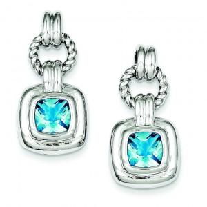 Blue Glass Dangle Post Earrings in Sterling Silver