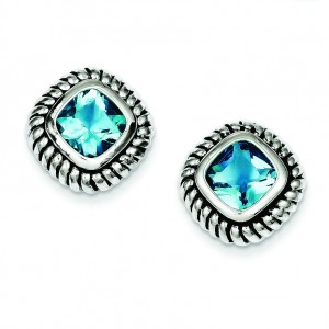 Antiqued Blue Glass Post Earrings in Sterling Silver
