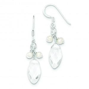Freshwater Cultured Pearl Rock Quartz CZ Earrings in Sterling Silver