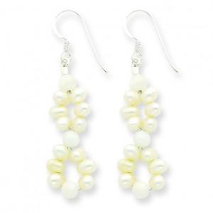 White Jade Freshwater Cultured Pearl Earrings in Sterling Silver