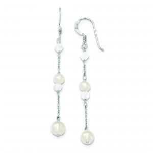 Freshwater Cultured Pearl Rock Quartz Aurora Borealis Earrings in Sterling Silver