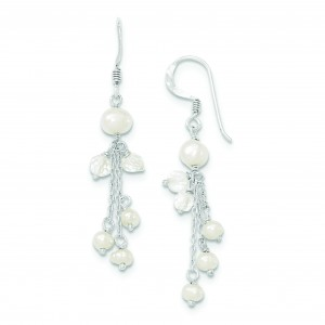 Freshwater Cultured Pearl And Crystal Earrings in Sterling Silver