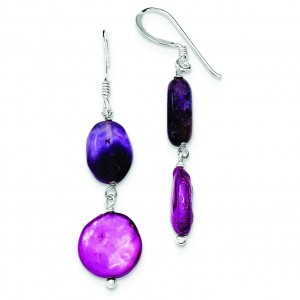 Amethyst Purple Freshwater Cultured Pearl Earrings in Sterling Silver