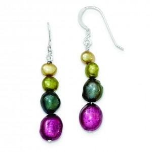 Multicolor Cultured Pearl Earrings in Sterling Silver