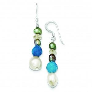 Blue Jade Citrine Freshwater Cultured Pearl Earrings in Sterling Silver