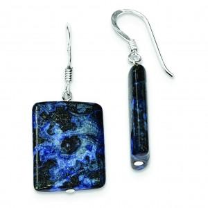 Blue Lepidolite Earrings in Sterling Silver