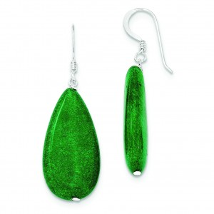 Dark Green Jade Earrings in Sterling Silver