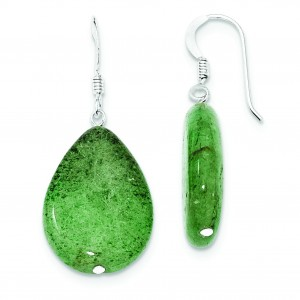 Cracked Green Aventurine Earrings in Sterling Silver