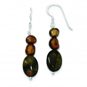 Tiger Eye Brown Freshwater Cultured Pearl Earrings in Sterling Silver
