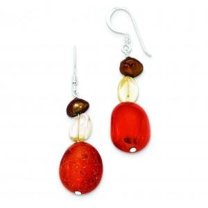 Carnelian Citrine Brown Fresh Water Cultured Pearl Earrings in Sterling Silver