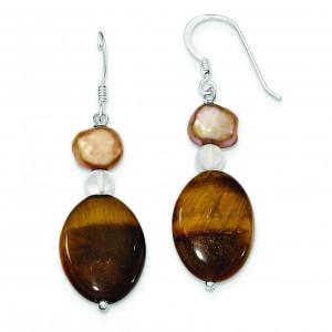 Rock Quartz Tiger Eye Fresh Water Cultured Pearl Earrings in Sterling Silver