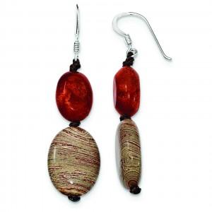 Red Reconstructed Stone Red Zebra Jasper Earrings in Sterling Silver