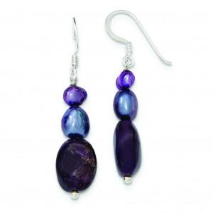 Amethyst Purple Grey Freshwater Cultured Pearl Earrings in Sterling Silver