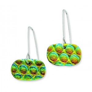 Multicolor Dichroic Glass Round Dangle Earrings in Sterling Silver