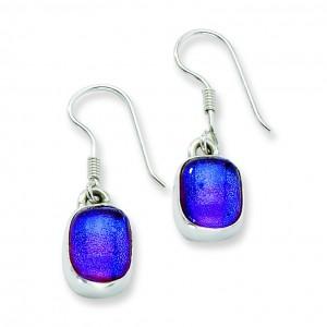 Blue Dichroic Glass Dangle Earrings in Sterling Silver