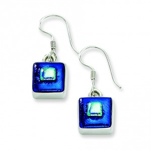 Blue Dichroic Glass Square Shaped Dangle Earrings in Sterling Silver