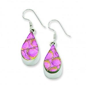 Pink Dichroic Glass Teardrop Shaped Dangle Earrings in Sterling Silver