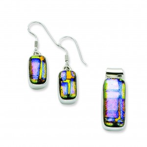 Multicolor Dichroic Glass Earrings Pendant Set in Sterling Silver