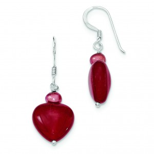 Red Jade Hearts Freshwater Cultured Pearl Earrings in Sterling Silver