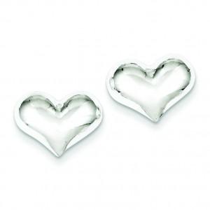 Puff Heart Post Earrings in Sterling Silver
