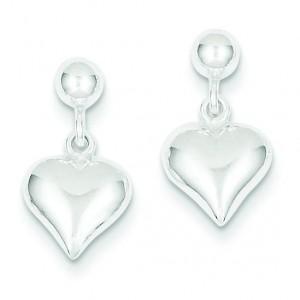 Puffed Heart Post Earrings in Sterling Silver