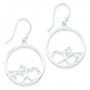 Open Hearts Circle Dangle Earrings in Sterling Silver