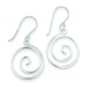 Swirl Design Dangle Earrings in Sterling Silver