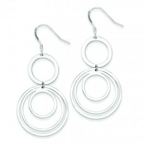 Circle Fancy Dangle Earrings in Sterling Silver