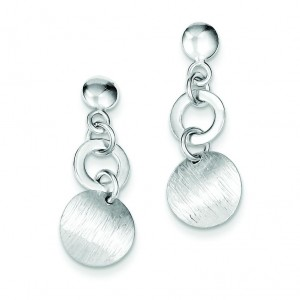 Textured Round Dangle Post Earrings in Sterling Silver