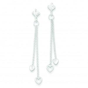 CZ Fancy Heart Dangle Post Earrings in Sterling Silver