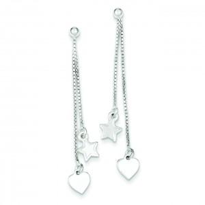 Hearts Stars Dangle Post Earrings in Sterling Silver