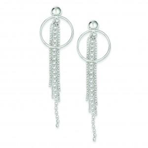 Circle W Bead Chain Dangle Post Earrings in Sterling Silver