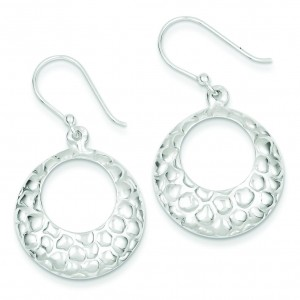Open Circle Hammered Dangle Earrings in Sterling Silver