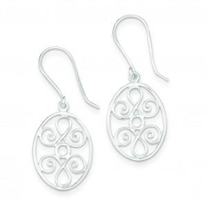 Oval Filigree Dangle Earrings in Sterling Silver