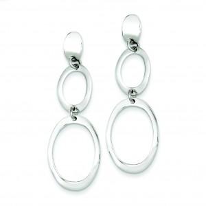 Fancy Oval Dangle Post Earrings in Sterling Silver