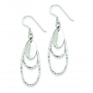 Textured Fancy Oval Dangle Earrings in Sterling Silver